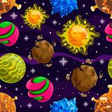 Seamless pattern with fantazy cartoon planet
