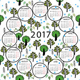 Calendar 2017 year illustration abstract background.