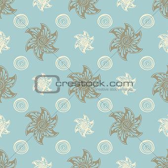 Sea seamless pattern blue background.