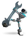 3D Illustration Robot Tighten the Screws