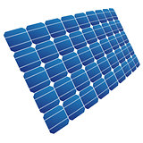 The solar cell shown in perspective.