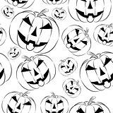 Pumpkin lantern icon in outline style seamless wallpaper on white background.