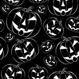 Pumpkin lantern in outline style seamless wallpaper on black background.