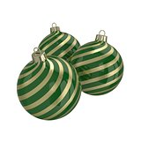 Green and gold decorative Christmas balls. Isolated New Year image.