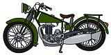 Vintage green motorcycle