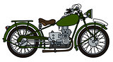 Vintage green motorcycle