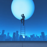 Man climb a ladder to the moon