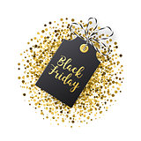 Black Friday sales tag. Black tag with golden glitter isolated on white backround.