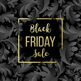 Golden Black Friday sale lettering background. Template for your design, invitation, flyer, card, gift, voucher, certificate and poster.