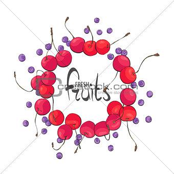 Circle of juicy fruit