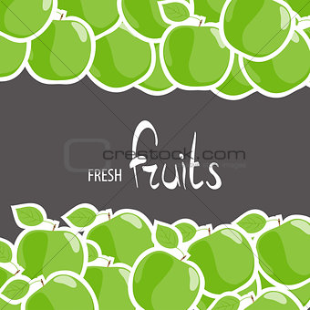 green apples on a black background