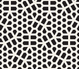 Vector Seamless Black And White Irregular Hexagon Grid Geometric Pattern