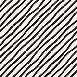 Vector Seamless Black and White Hand Drawn Diagonal Stripes Pattern