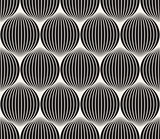 Vector Seamless Black And White Stripes in Circles Pattern
