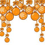 Gold Christmas balls with ribbon and bows