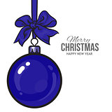 Christmas ball with blue ribbon and bows, greeting card template