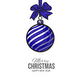 Christmas balls with blue ribbon and bows, greeting card template