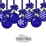 Blue Christmas balls with ribbon and bows, greeting card template