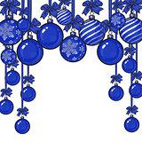 Blue Christmas balls with ribbon and bows