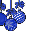 Blue Christmas balls with ribbon and bows