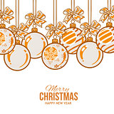 Orange Christmas balls with ribbon and bows, greeting card template