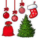Set of Christmas tree, red decoration balls, boot and sack