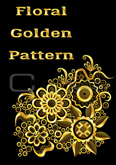 Abstract Golden Floral Pattern