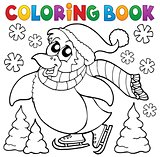 Coloring book happy skating penguin