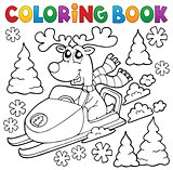 Coloring book reindeer in snowmobile