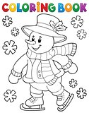 Coloring book skating snowman theme 1