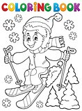 Coloring book skiing boy theme 1