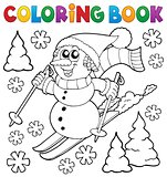 Coloring book skiing snowman theme 1