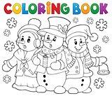 Coloring book snowmen carol singers