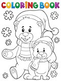 Coloring book winter bears theme 1