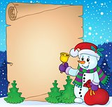 Parchment with Christmas snowman theme 2