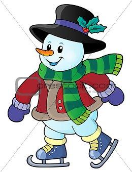 Skating snowman theme image 1