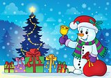 Snowman near Christmas tree theme 3