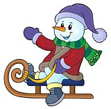 Snowman on sledge theme image 1