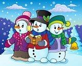 Snowmen carol singers theme image 4
