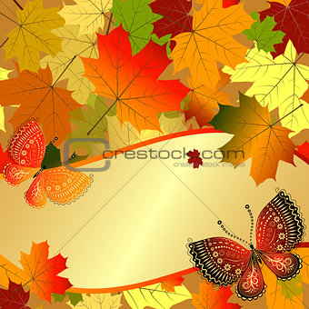 Autumn decorative floral frame with colorful translucent maple l