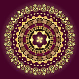Gold and purple vintage round pattern