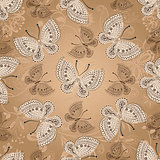 Seamless beige pattern with butterflies