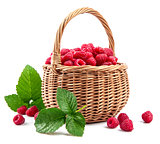 Fresh berries raspberry in wicker basket