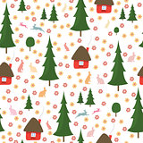 rabbits running around in the woods, the houses, Christmas trees, seamless pattern on white background