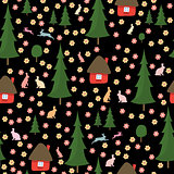 rabbits running around in the woods, the houses, Christmas trees, seamless pattern on black background