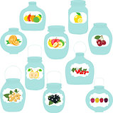 Jars set, label with fruits and berries, vector illustration