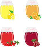 Jam jars, lemons, oranges, currants and cherries. Isolated On White Background, Vector Illustration