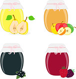 Jam jars, pear, apple, currants, raspberries, blackberries. Isolated On White Background, Vector Illustration