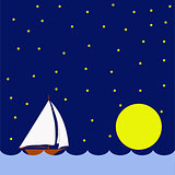 Sailing boat in the night, huge moon