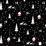 Merry christmas deer, Happy New Year, seamless pattern